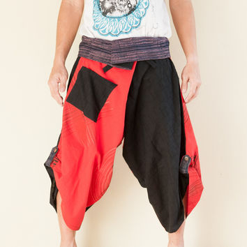 Size M/L Unique Wrap Around Samurai Harem Pants (Red Brush)