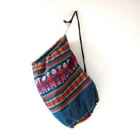 Vintage Guatemalan backpack. Large woven pouch - tribal bag. Over the shoulder weekender. Ethnic rucksack.