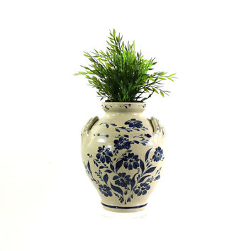 Vintage Stoneware Crock, Signed Blue and White Pottery