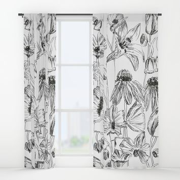 flower party black and white Window Curtains by Color and Color