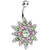 Multi Colored Gem Chrysanthemum Flower Belly Ring | Body Candy Body Jewelry