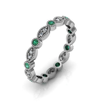 14K White Gold Art Deco Antique Style .36cts  Diamond  and Emerald Eternity Band Anniversary Ring
