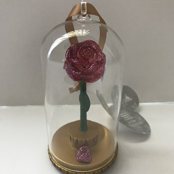 Disney Parks Beauty and the Beast Rose in Glass Light-Up Ornament New with Tags