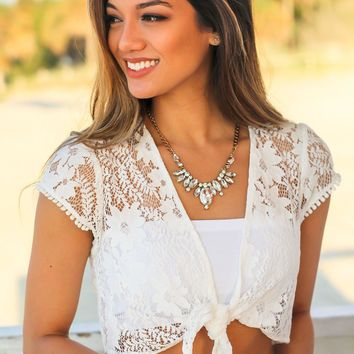 Off White Lace Tie Top