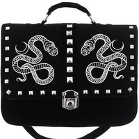 Serpent Snake and Moon Black velvet messenger bag