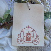 Wedding Wish Tree Tags - Vintage Inspired - Rustic Wedding - Cinderella Carriage with pink glitter - Set of 10