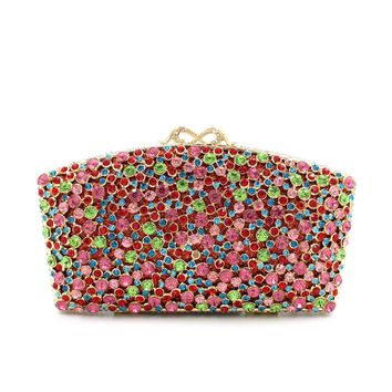 New Kisslock Flower Colorful Rhinestone  Minaudiere Box Clutch