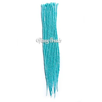 Aqua Teal Single Ended Synthetic Dreadlock Extensions 20""