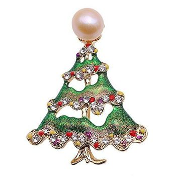 JYX Pearl Brooch Christmas Treestyle 10mm Pink Freshwater Cultured Brooch Pin Christmas