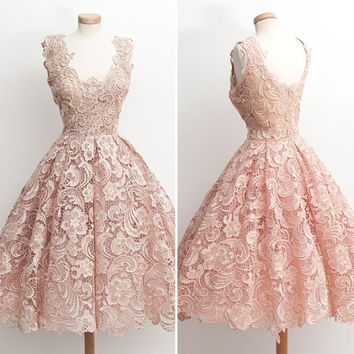 Vintage Lace Short Prom Dresses 2016 Pink Appliques Lace Short Graduation Dresses Cheap Lace A-Line Short Homecoming Dress