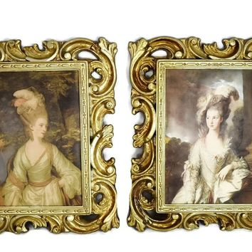 Vintage Rococo Style Framed Victorian Silk Screen Lady Pictures Italy