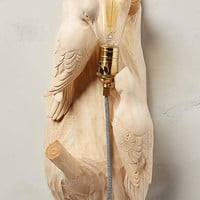 Woodpeckers Handcarved Woodlore Sconce