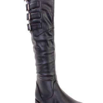 Black Buckled Strappy Riding Boots Faux Leather
