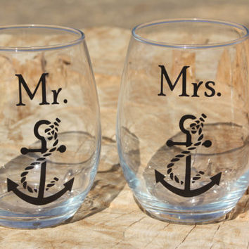 Mr. and Mrs. Boat Anchor Stemless Wine Glasses. Engagement or Wedding Gift/Bride and Groom