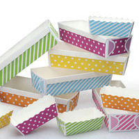 Large Polka Dot Rectangular Loaf Baking Pans - Yellow, Purple or Orange Polka Dots - Set of 6