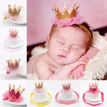 Girl's Head Accessories Hairband Baby Shiny Cute Princess Children Tiara Hair Band Headband Kids Elastic Crown Headwear