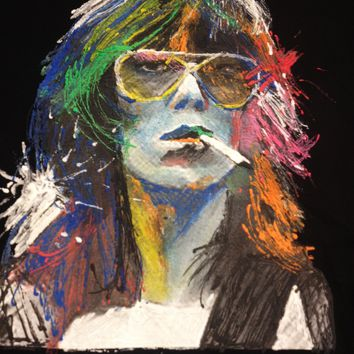 KEITH RICHARDS T-shirt NEON Painted 3D Art To Wear