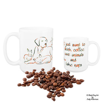 I Just Want to Drink Coffee Save Animals and Take Naps 10 - Animal Lover - Veterinary - Vet Tech Mug - Veterinarian Gift - Vet Tech Gift