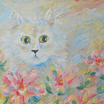 White Cat in Flowers Portrait Oil painting Impasto Still Life Child Room Decor Pet Picture Personalized gift Modern Art Photo to Painting