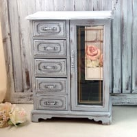 Gray Vintage Jewelry Box, Shabby Chic Light Grey Wooden Jewelry Holder, Necklace Holder, Jewelry Storage Box, Gift Ideas