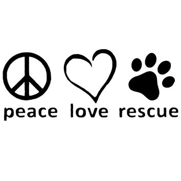 Peace Love Rescue Vinyl Decal Car Sticker