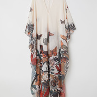 Beach kaftan - Natural white/Butterflies - Ladies | H&M GB