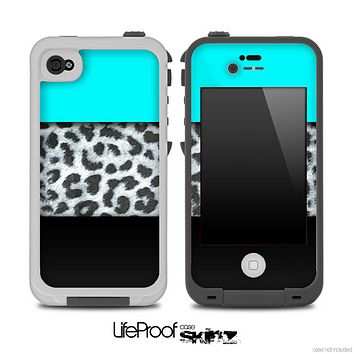 Three-Toned Turquoise BW Leopard Skin for the iPhone 5 or 4/4s LifeProof Case