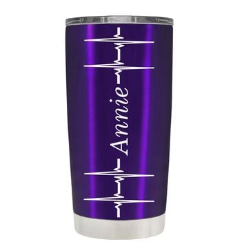 Personalized Heart Beat Pulse on Translucent Purple 20 oz Tumbler Cup