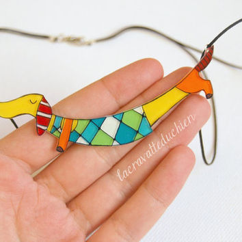 Dachshund jewelry, Dachshund dog necklace, Acrylic colorful jewelry, gift for her