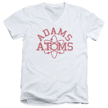 Revenge of the Nerds Adams Atoms White V-Neck T-Shirt