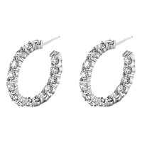 4 1/3ct tw Diamond Hoop Earrings in 14K White Gold - Fashion - Diamond Earrings - Jewelry & Gifts
