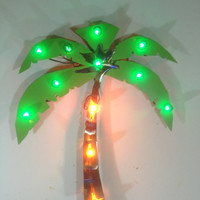 Lighted Palm Tree, 36 in. Torched Metal Trunk with green lights!