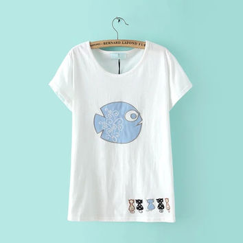Summer Women's Fashion Short Sleeve Embroidery Cats Round-neck Pullover Tops T-shirts [6047764673]