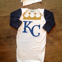 Kansas City Royals baseball MLB baby newborn gown and knot hat- upcycled raglan sports Onesuit