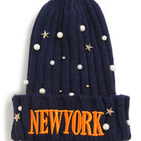 New York Print Beaded Hat