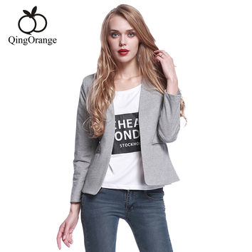Women Office  Long Sleeve Pockets Cardigan Grey Blazer Free Shipping