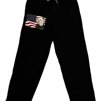 Patriotic USA Flag with Bald Eagle Adult Lounge Pants - Black by TooLoud