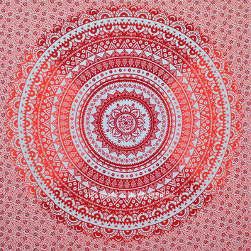 Orange Multi Ombre Mandala Wall Tapestry Bedding on RoyalFurnish.com