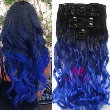 7pcs/set 16 Clips Curly Style Synthetic Hairpiece Black to Blue Ombre Color Clip In Hair Extensions Cosplay Accessories B40