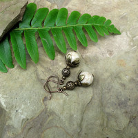 Ivory stone earrings -  pale almond picture jasper beads with leafy antique bronze caps