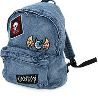 candy stripper horror emblem chemical denim backpack