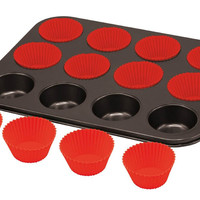 Cupcake Baking Tray With 12 Silicone Cup