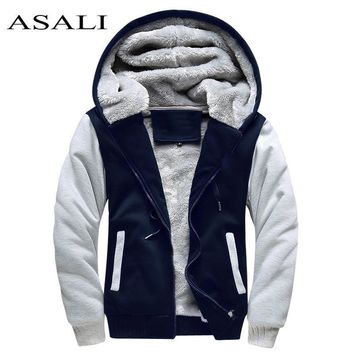 Bomber Jacket Men Thick Warm Fleece Zipper  Hoodies