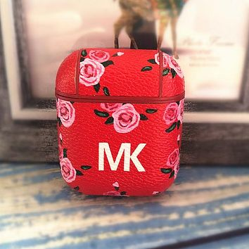 MK Popular Women Chic iPhone Airpods Headphone Case Wireless Bluetooth Headphone Protector Case(No Headphones) Red