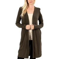 "Long Line Open Cardigan with Side Pockets-36"", Dark Olive"