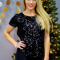 Starlight Sequin Top - Black