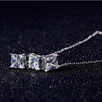 DCCKHY9 Korea 925 Silver Cubic Zirconia Necklaces 925 Sterling Silver Necklaces&Pendants Jewelry Collar Colar Free Shipping D00066