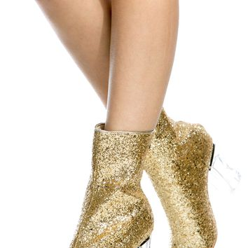 Gold Glitter Chunky Translucent Ankle Booties @ Cicihot. Booties spell style, so if you want to show what you're made of, pick up a pair. Have fun experimenting with all we have to offer!