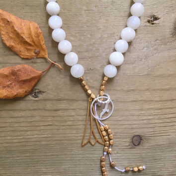 Moonstone Gemstone Gold, Canadian Made, Earth Jewelry, 108 Mala Beads, Yoga and Meditation Jewelry, Bohemian Necklace, Healing Crystals
