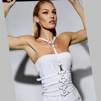 HARNESS, US style leather strap body harness with detachable removable collar around neck adjustable buckles 3 line  waist belts